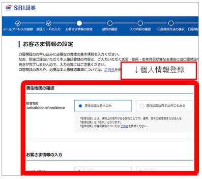 SBI個人情報登録画面