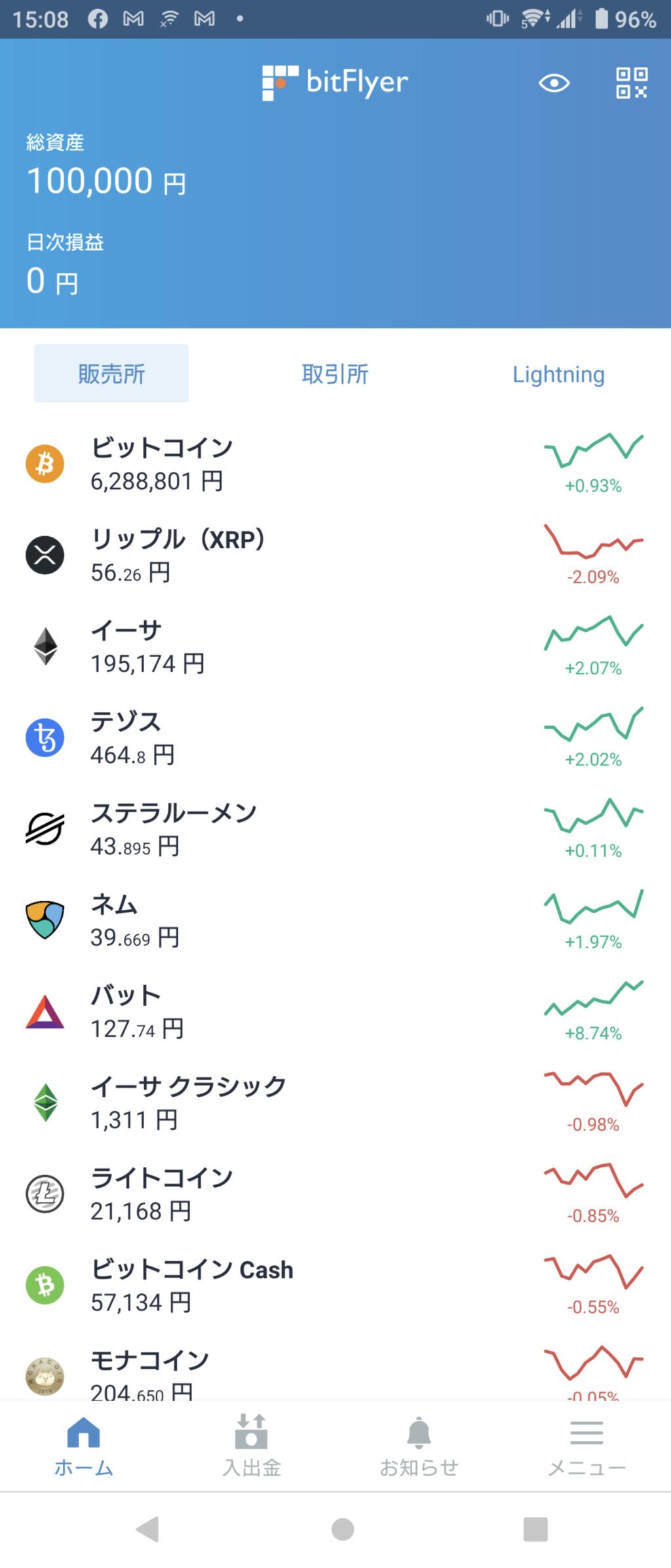 ビットフライヤーアプリのTOP画面
