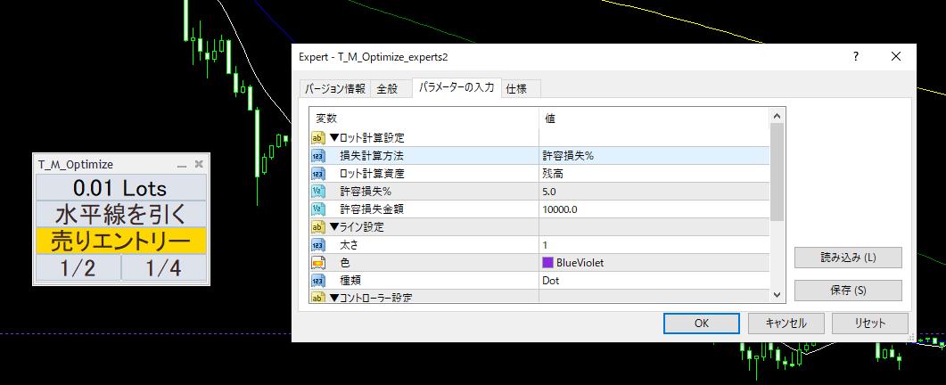 【MT4】ロット自動調整エントリーツール T_M_Optimize