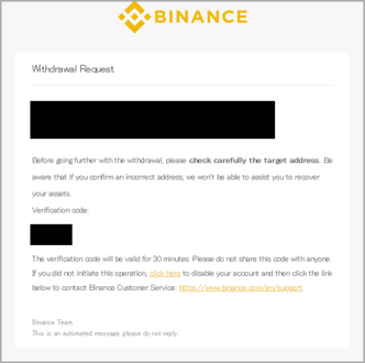 Binance(バイナンス)認証コードのメール
